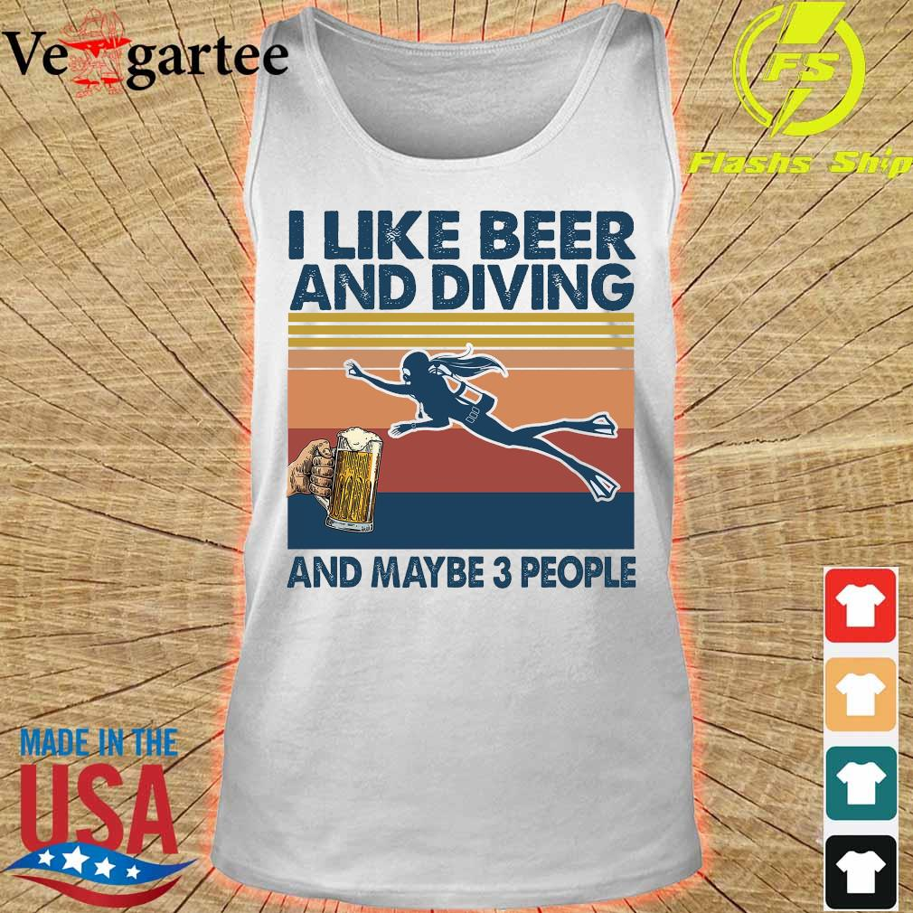 I like beer and diving maybe 3 people vintage s tank top