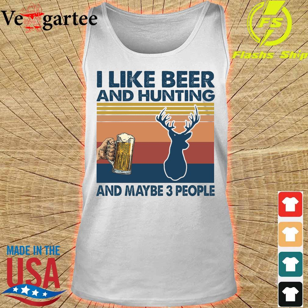 I like beer and hunting maybe 3 people vintage s tank top