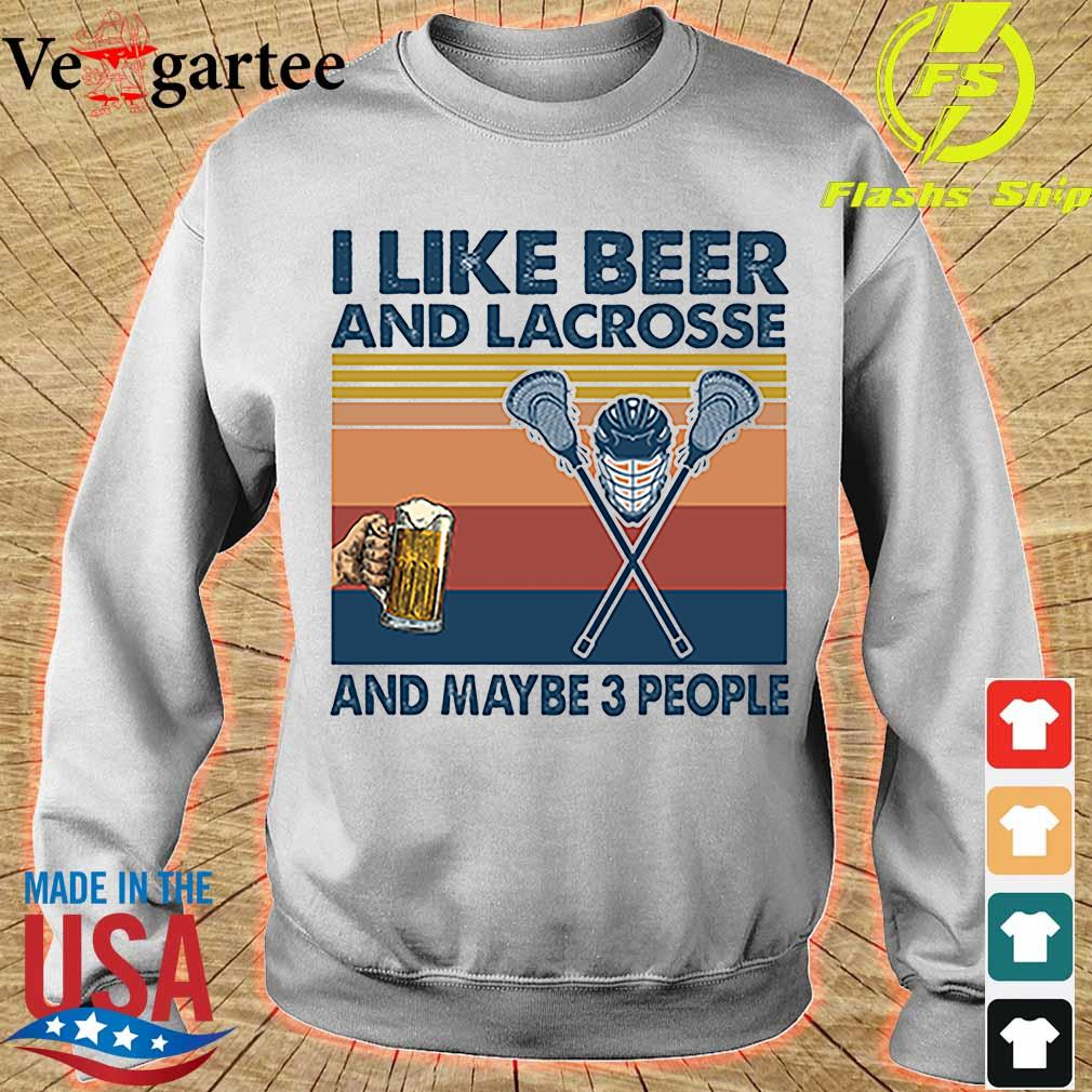 I like beer and Lacrosse and maybe 3 people vintage s sweater
