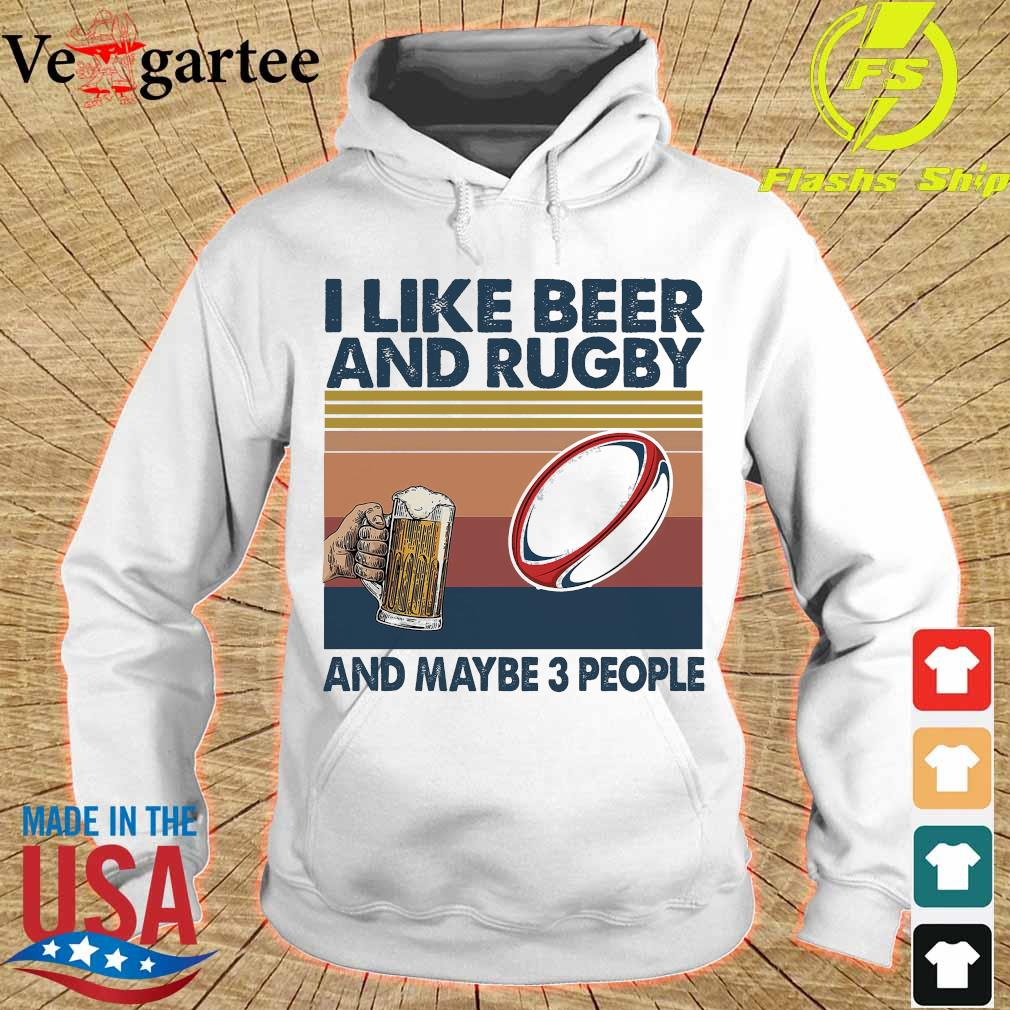 I like beer and rugby and maybe 3 people vintage s hoodie