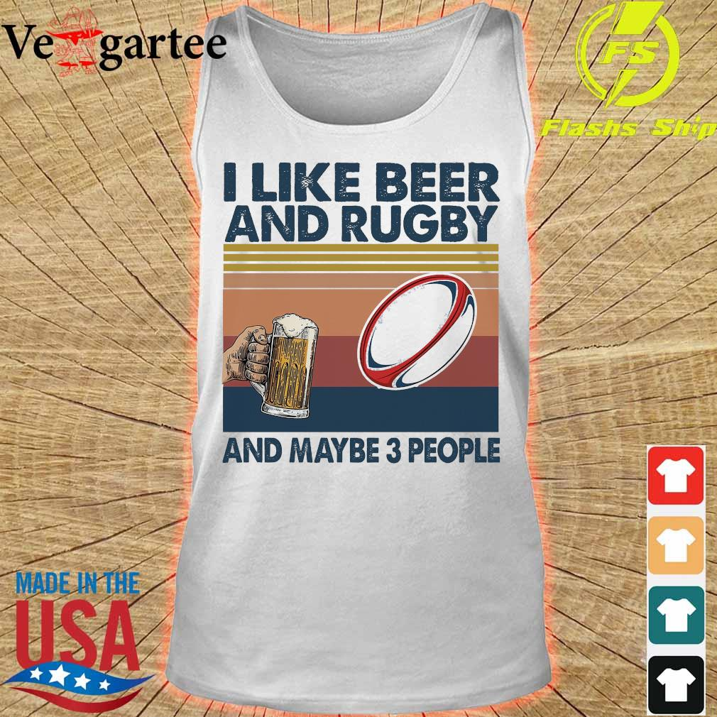 I like beer and rugby and maybe 3 people vintage s tank top