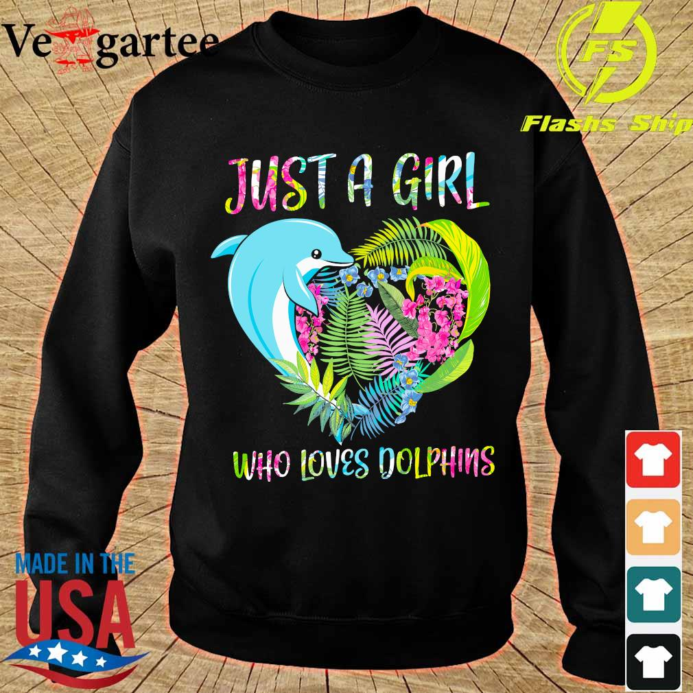 Just a girl who loves dolphins floral heart s sweater