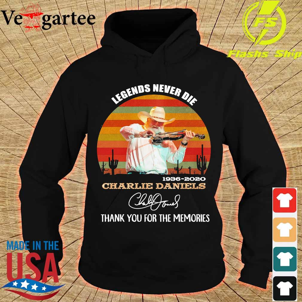 Legends never die 1936 2020 Charlie Daniels thank You for the memories signature vintage s hoodie