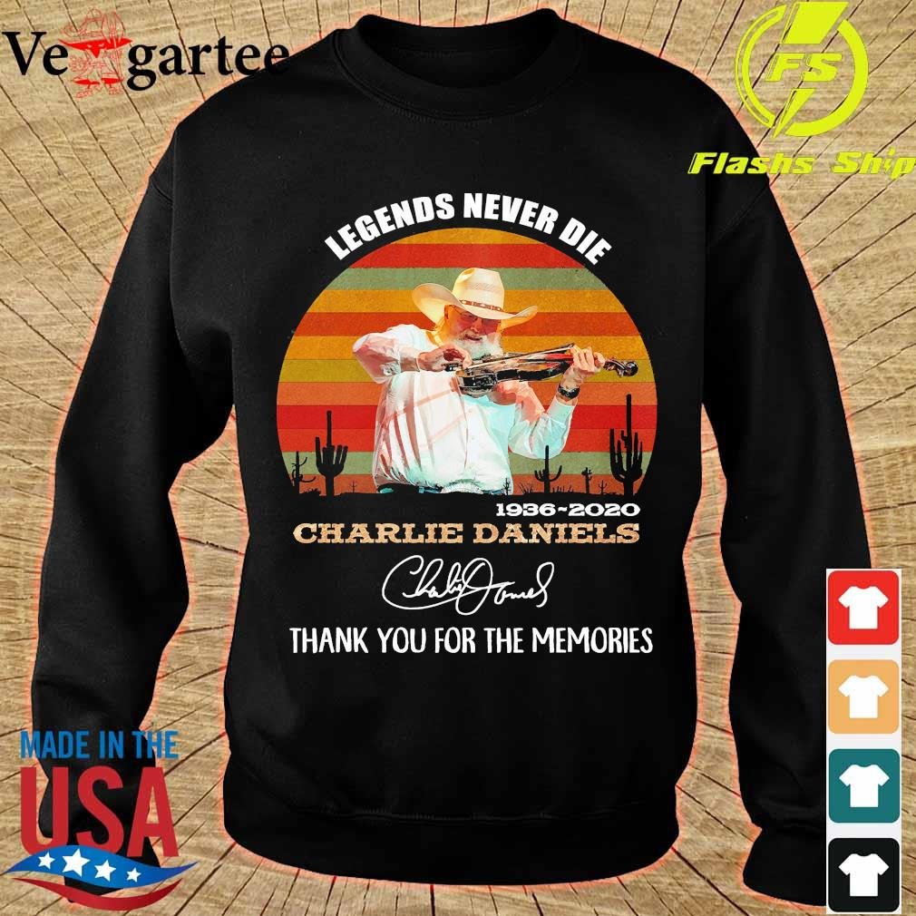 Legends never die 1936 2020 Charlie Daniels thank You for the memories signature vintage s sweater