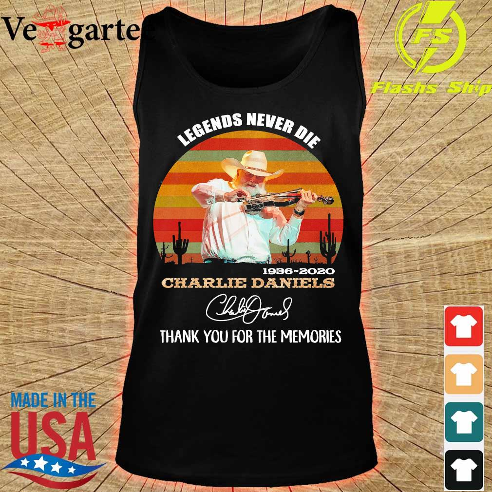 Legends never die 1936 2020 Charlie Daniels thank You for the memories signature vintage s tank top