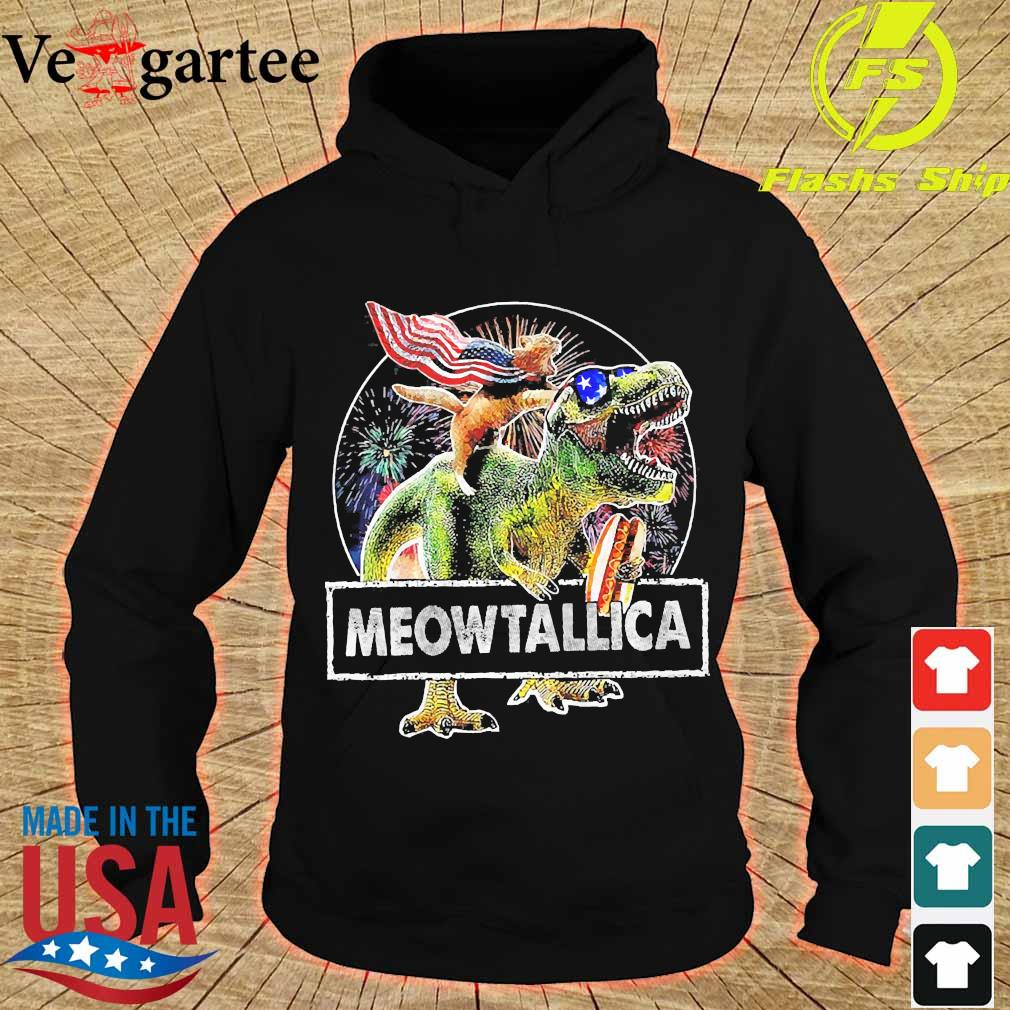 Meowica American Flag Cat T Rex Dinosaur 4th of July Independence Day Fireworks s hoodie