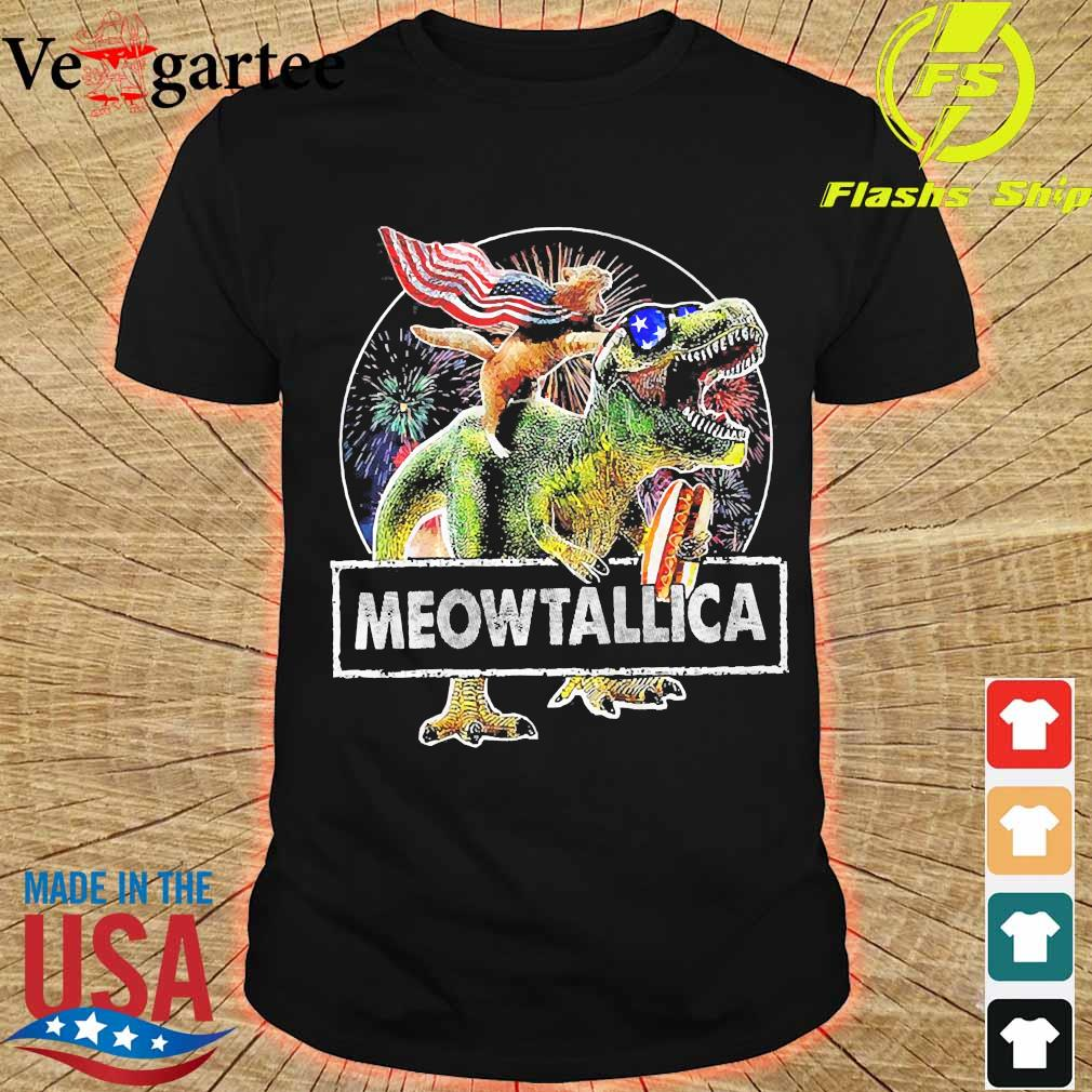 Meowica American Flag Cat T Rex Dinosaur 4th of July Independence Day Fireworks shirt