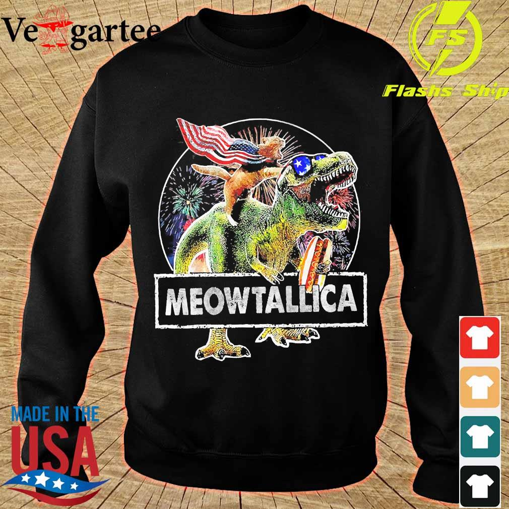Meowica American Flag Cat T Rex Dinosaur 4th of July Independence Day Fireworks s sweater