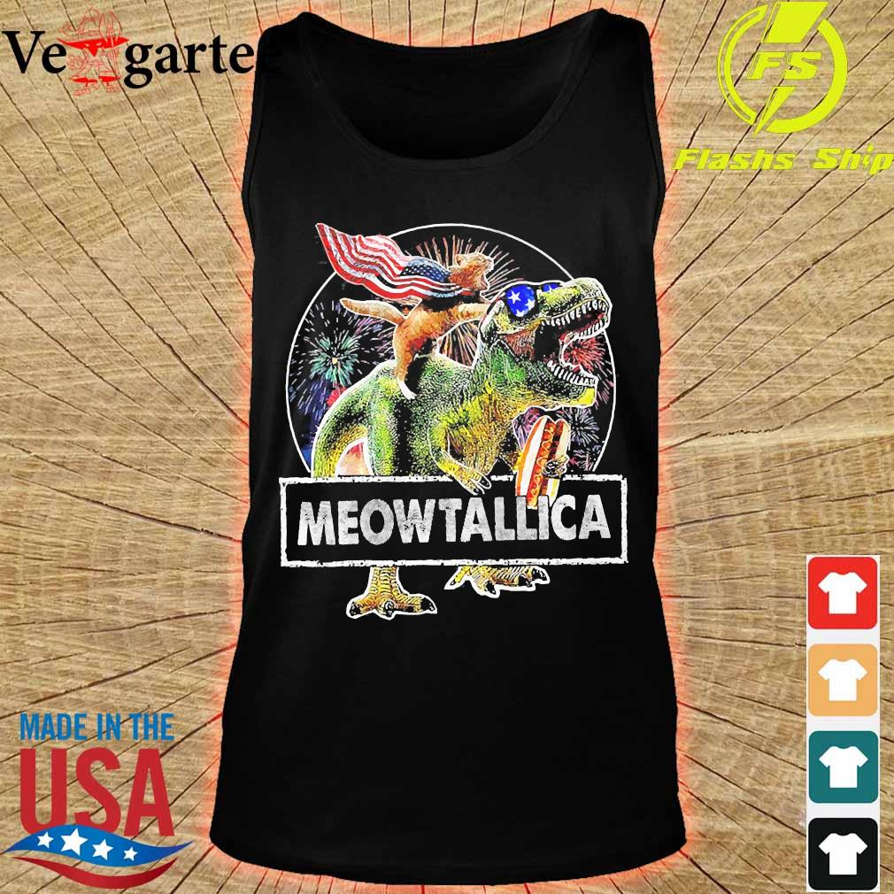 Meowica American Flag Cat T Rex Dinosaur 4th of July Independence Day Fireworks s tank top