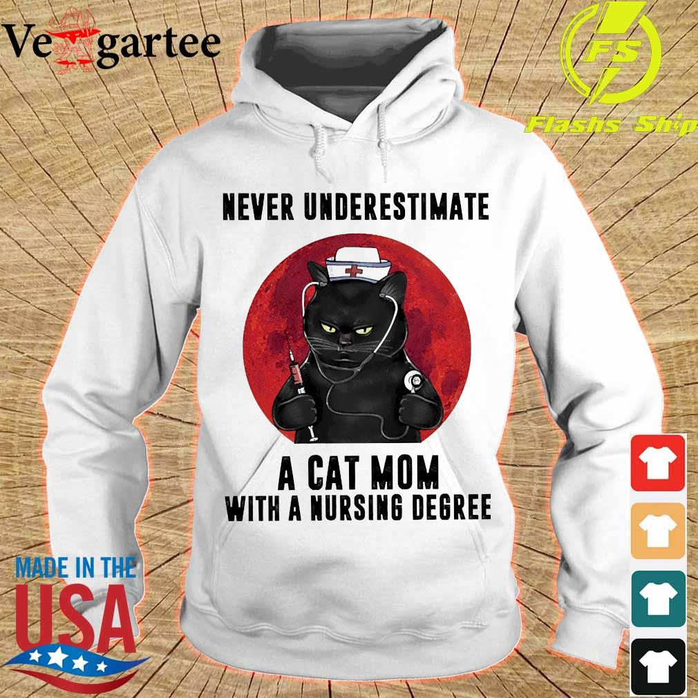 Never underestimate a cat mom with a nursing degree s hoodie