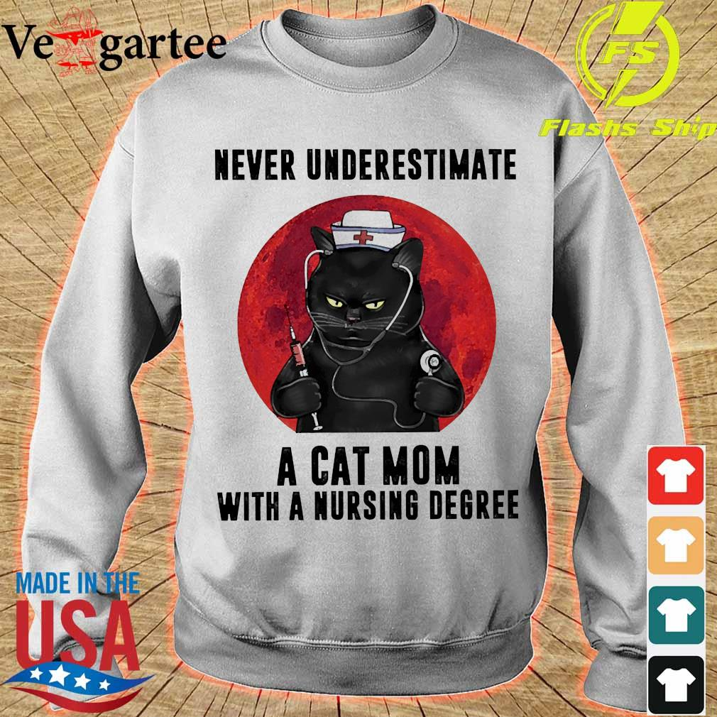 Never underestimate a cat mom with a nursing degree s sweater