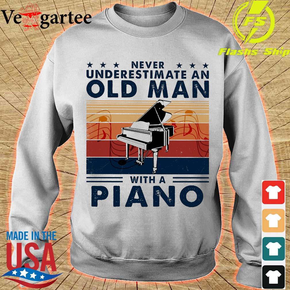 Never underestimate an old man with a piano vintage s sweater