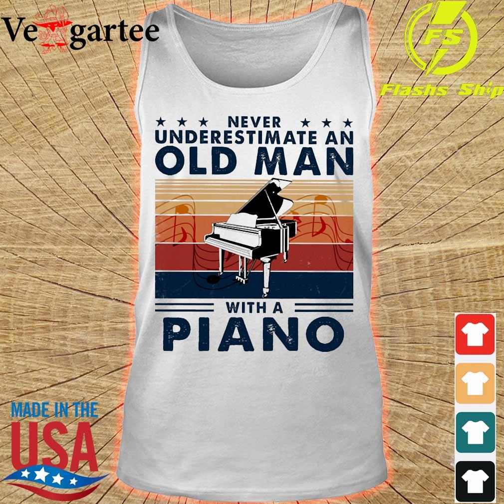 Never underestimate an old man with a piano vintage s tank top