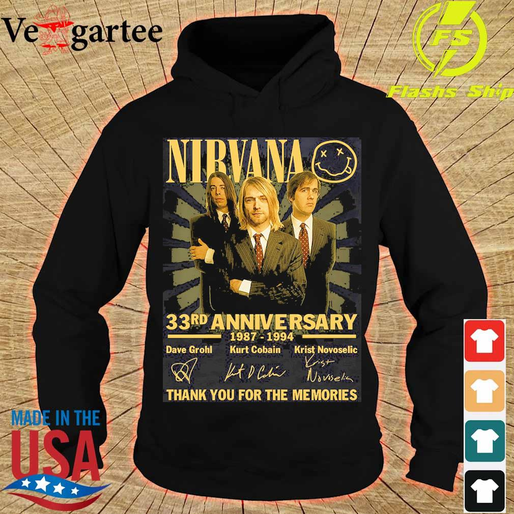 Nirvana 33rd anniversary 1987 1994 thank You for the memories signatures s hoodie