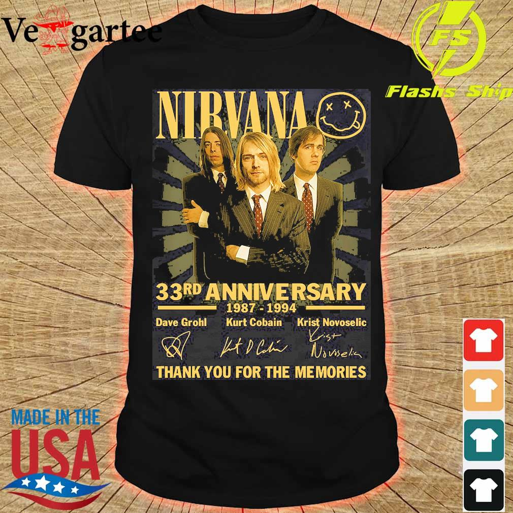 Nirvana 33rd anniversary 1987 1994 thank You for the memories signatures shirt