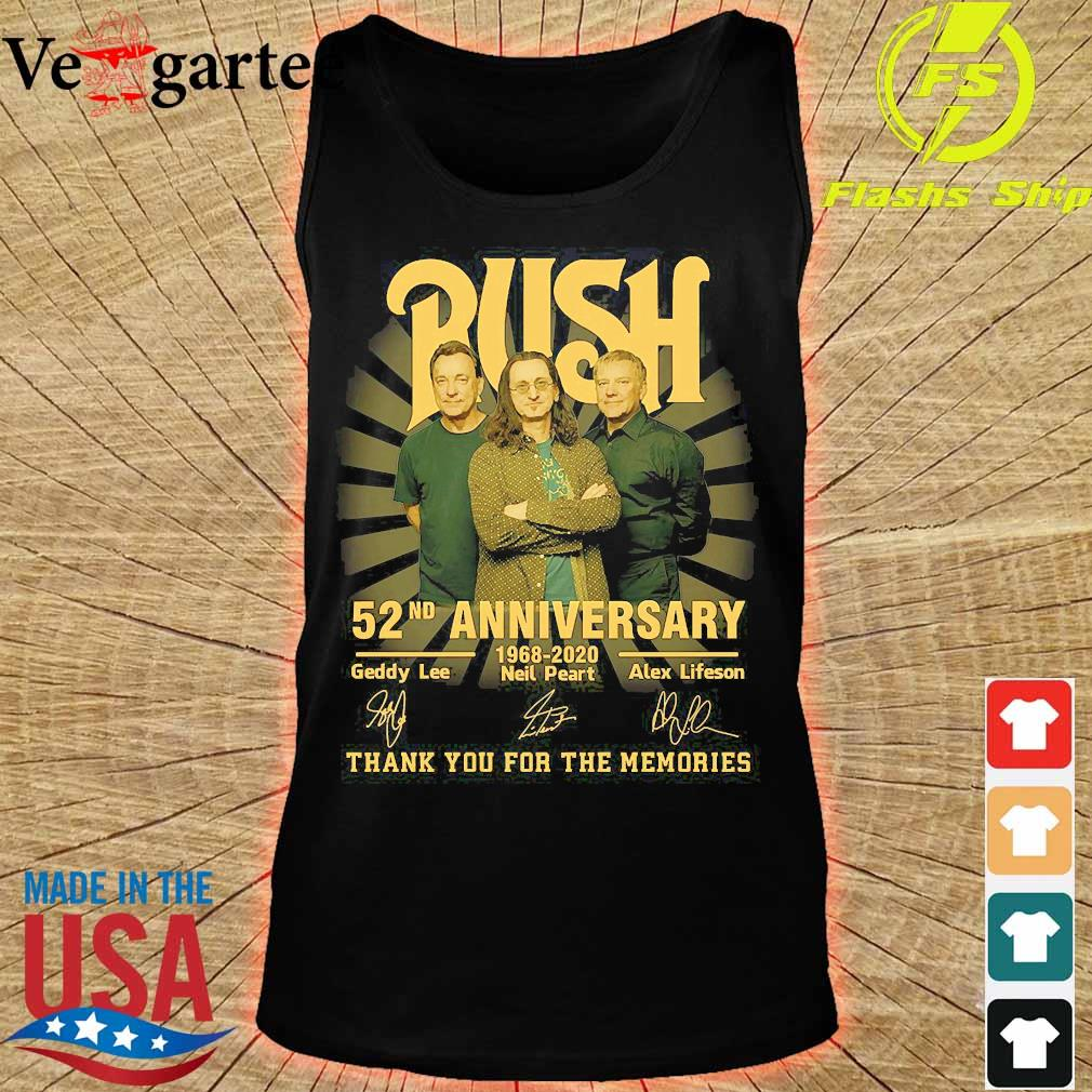 Rush 52nd anniversary 1968 2020 thank You for the memories signatures s tank top