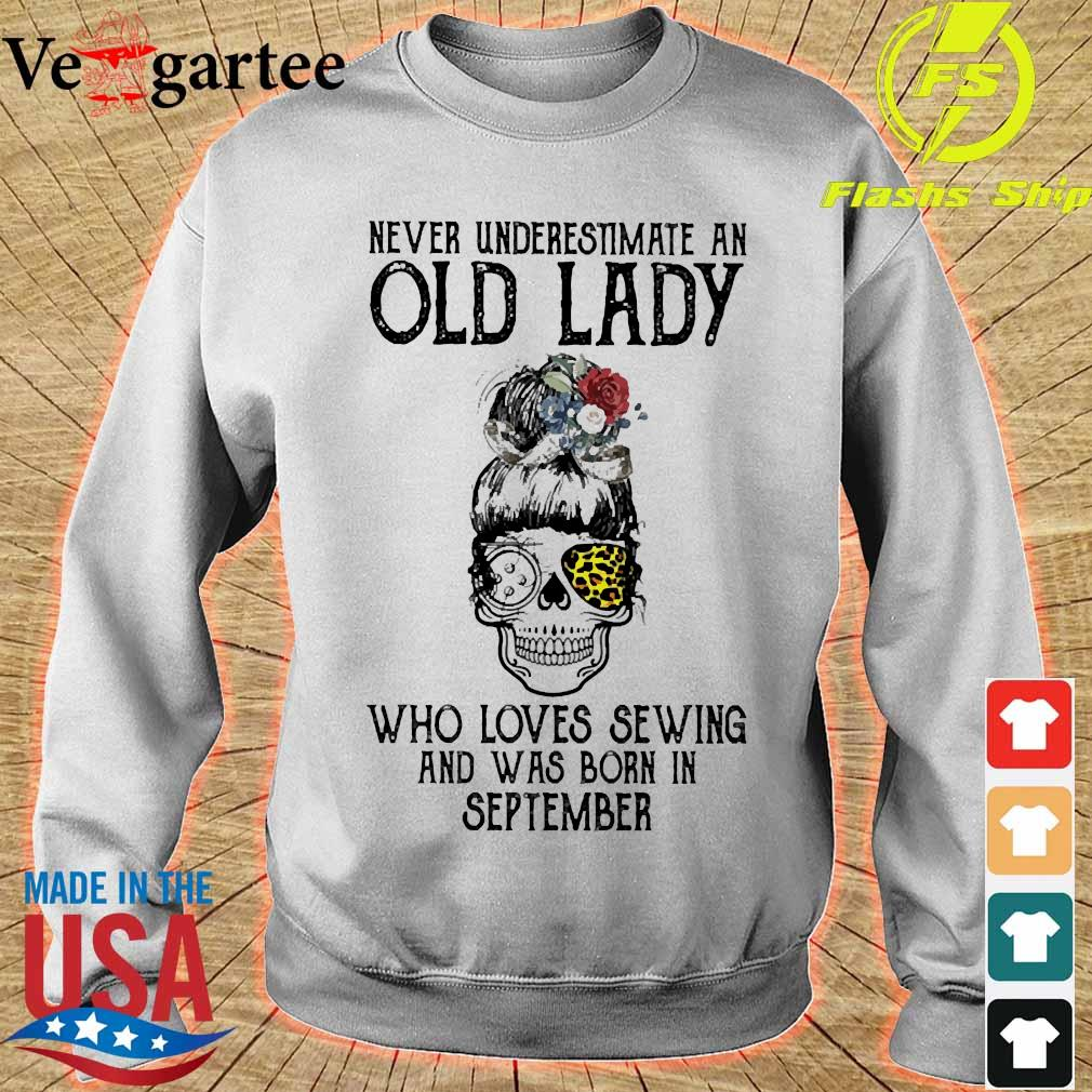 Skill girl leopard Never underestimate an old lady who loves sewing and was born in september s sweater
