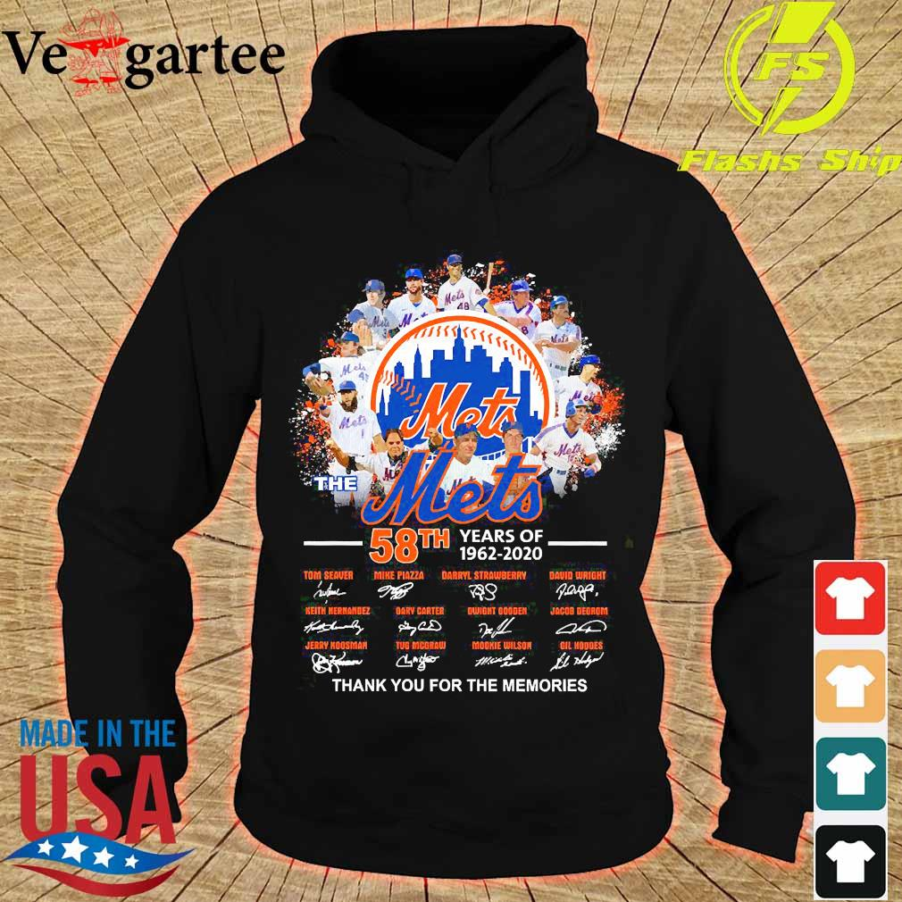 The Mets 58th years of 1962 2020 thank You for the memories signatures s hoodie