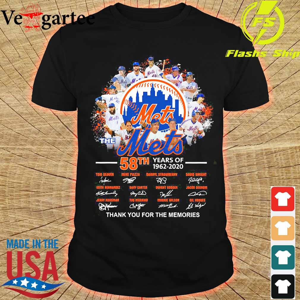 The Mets 58th years of 1962 2020 thank You for the memories signatures shirt
