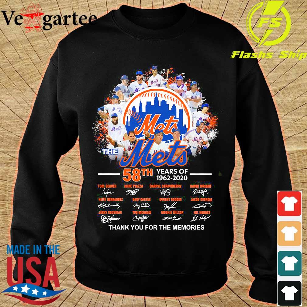 The Mets 58th years of 1962 2020 thank You for the memories signatures s sweater