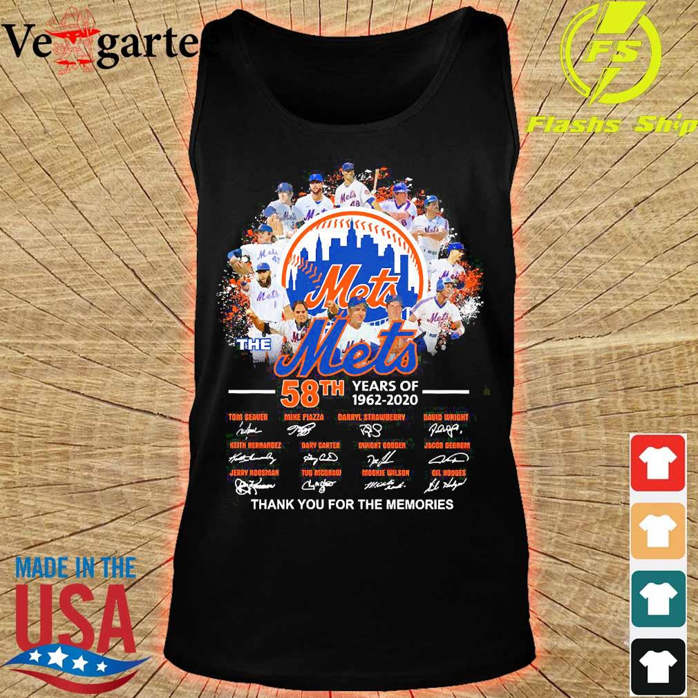 The Mets 58th years of 1962 2020 thank You for the memories signatures s tank top