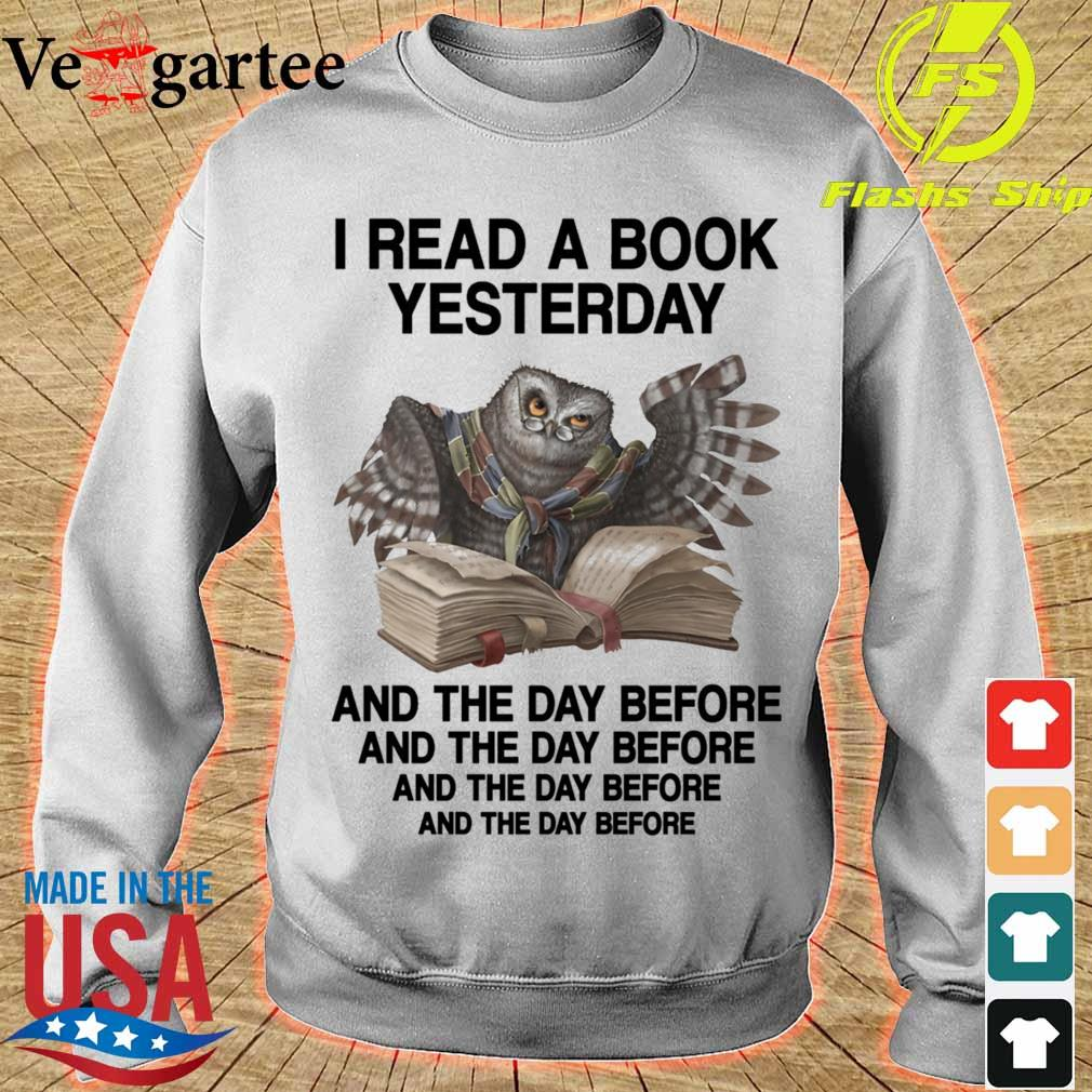 Owl I read a book Yesterday and the day before s sweater