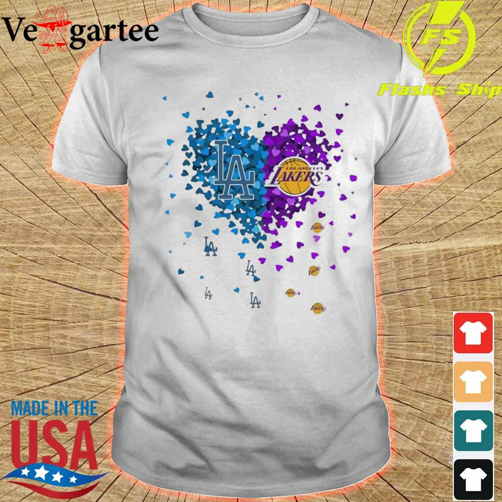 Los Angeles Dodgers And Los Angeles Lakers Heart Shirt
