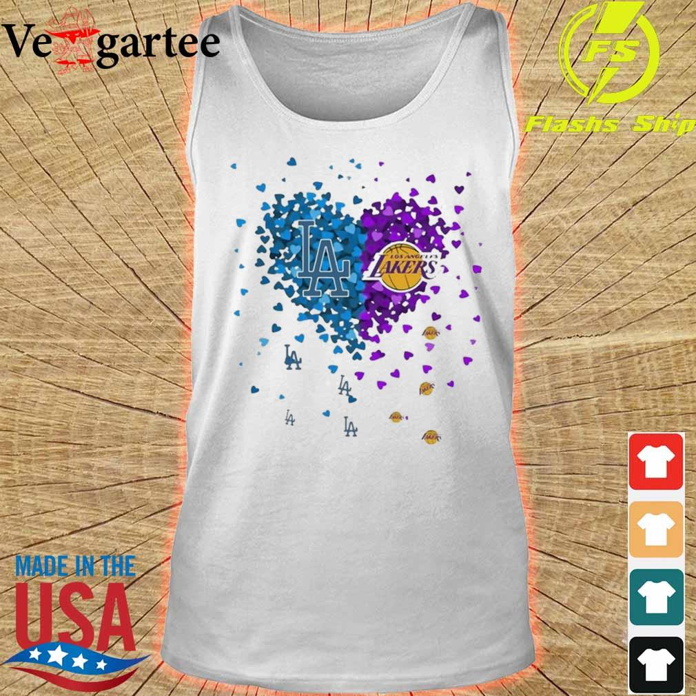 Los Angeles Dodgers And Los Angeles Lakers Heart Shirt tank top
